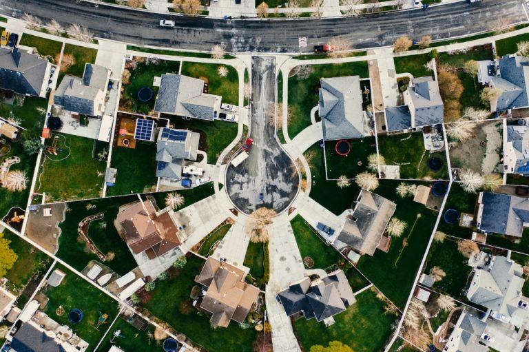 top view of cul de sac neighborhood