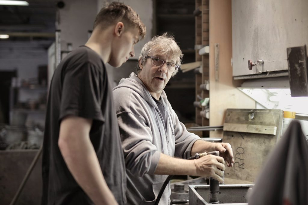 father and son working
